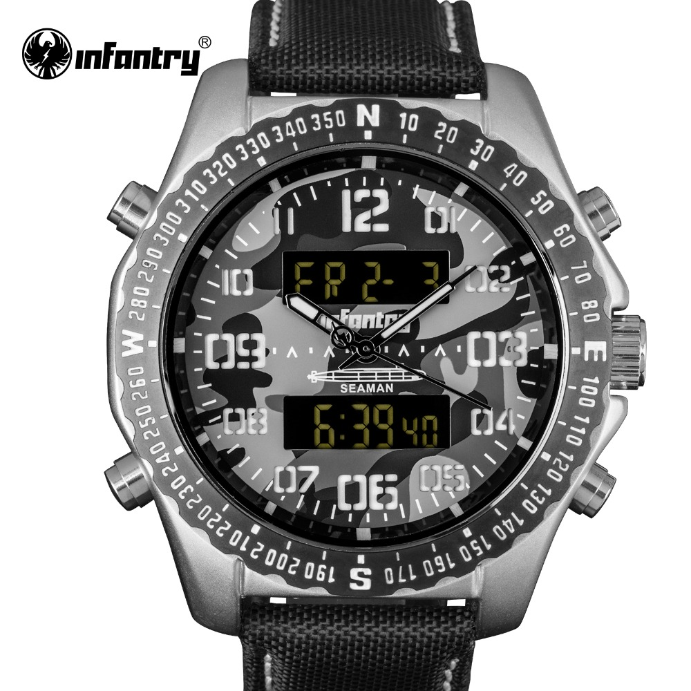 Top Brand INFANTRY Men Sport Digital Watches Quartz Analog Watch Male Clock Military Watch casket gift box free shipping