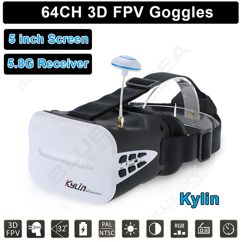 Free Shipping KDS Kylin Vision 64CH 5 8G 3D FPV Goggles 5 Inch VR Headset Glasses