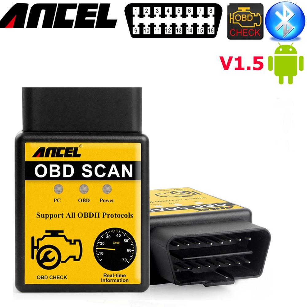 Prix pour Voiture scanner android Bluetooth V1.5 ancel elm327 obd2 OBD2 de Code Automatique Lecteur Mini 327 Voiture de diagnostic elm327 25k80