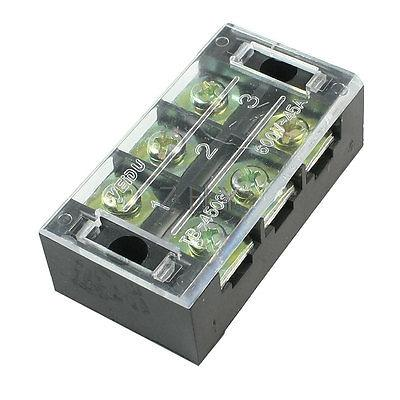 600V 45A Double Rows 3P 3 Positions Covered Barrier Screw Terminal Block 5 pcs 600v 45a 4 positions 4p dual rows covered barrier screw terminal block