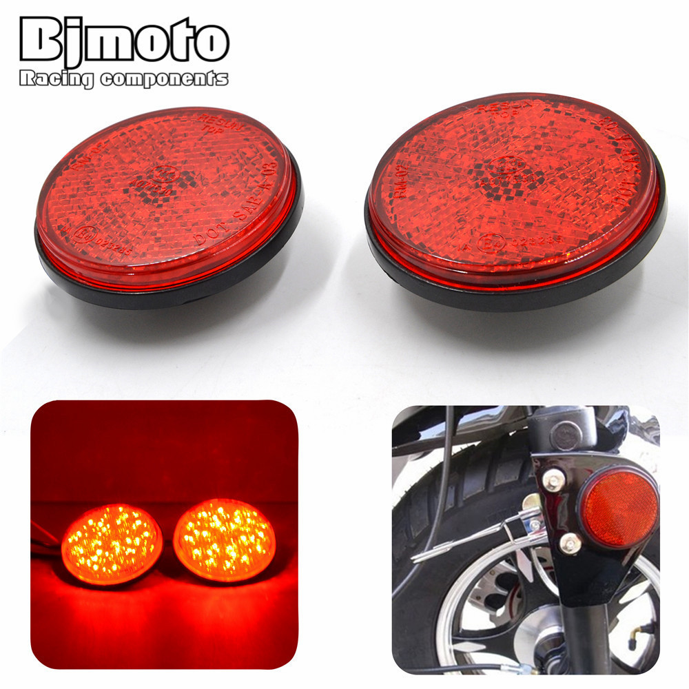 BJMOTO High Quality A Pair Round Red Lens Red LED Reflectors Brake Light for Universal Motorcycle ATV Scooter