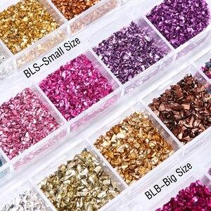 Image 2 - 3D Onregelmatige Stenen Vlokken Glitter Gebroken Glas Nail Art Steentjes Kralen Rose Gouden Studs Diamanten Manicure Decoraties Lablb/S