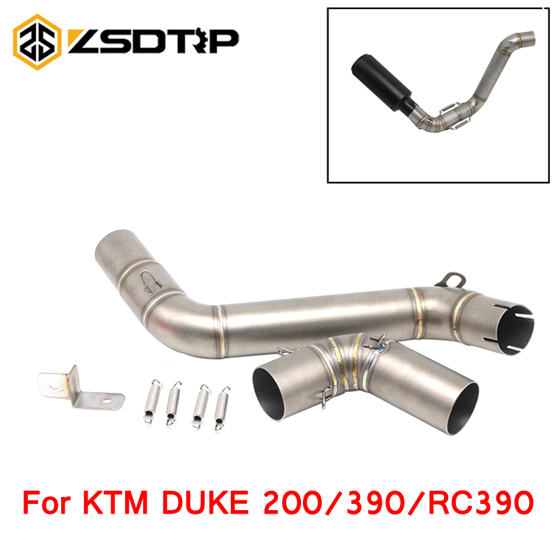 Alconstar Motorcycle Exhaust Link Pipe Mid Pipe Stainless Steel Fit For 51mm Exhaust KTM DUKE 200