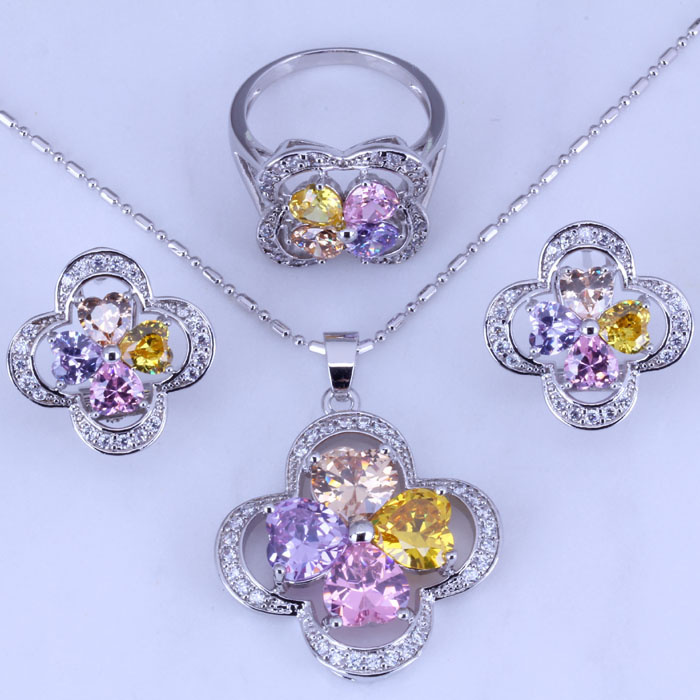 Crystal Hoop-Earrings/pendant Jewelry-Sets Necklace/ring Wedding Silver-Color H0249 Lucky-Clover