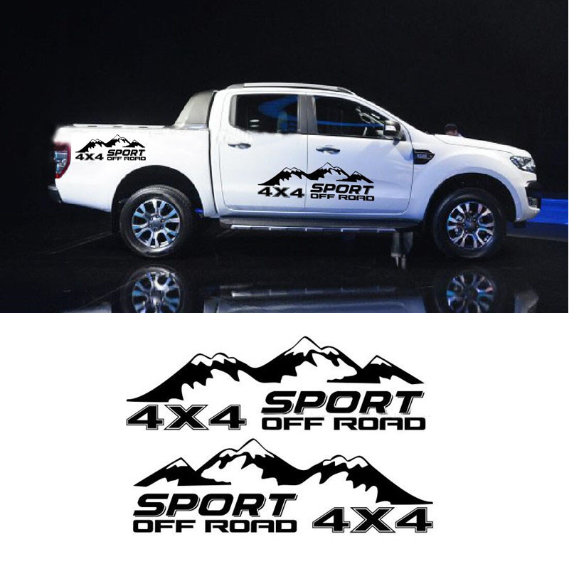 2pcs/set <font><b>4x4</b></font> <font><b>Off</b></font> <font><b>Road</b></font> Vinyl Decal Pickup Trunk Decor <font><b>Sticker</b></font> Auto Body Tail Customized Decals For pickup truck universal mode image