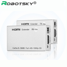 Robotsky 3D 1080P HDMI Extender 60M over single CAT5E/CAT6 Signal Cable HDMI Transmitter Receiver with IR  for DVD XBox PS3 PS4