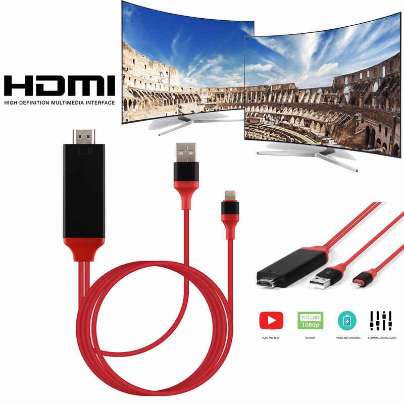 2M 8 Pin to HDMI Male Cable HD 1080P HDMI Converter Adapter Cable USB Cable for HDTV TV Digital AV for iPhone for IOS