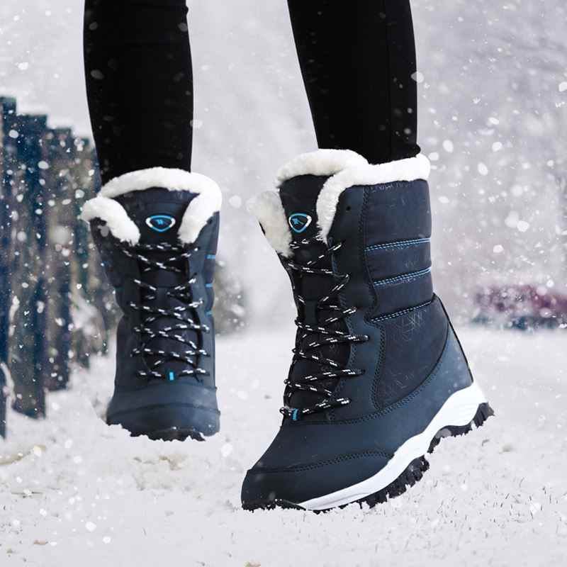 Quanzixuan New Ankle Boots Women Winter Waterproof Snow Boots Women Shoes 2019 Fashion Warm Plush Boots Plus Size 41 42