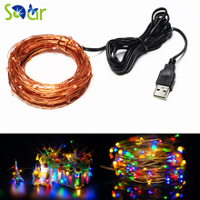 Lights Lighting - Outdoor Lighting - New 10m 100 LEDS Christmas Day decorative lantern USB copper wire string outdoor waterproof creative lantern