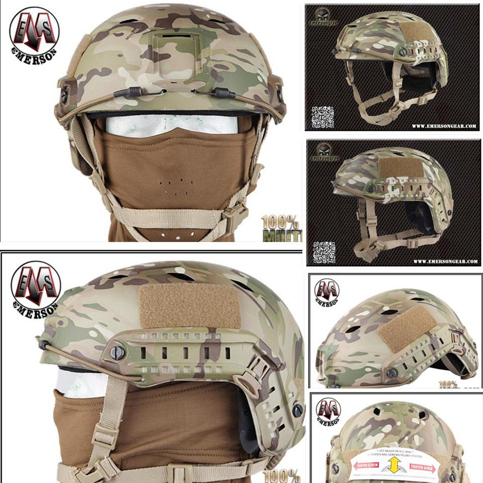 Tactical protective helmet Base Jump Helmet EMERSON FAST Helmet BJ TYPE Multicam EM5659D militech fast aor2 bj high cut style vented airsoft tactical helmet ops core style base jump training helmet air soft helmet