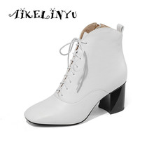 AIKELINYU 2019 Genuine Leather Women White Ankle Boots Martin Boots Female Square Head Autumn Winter Shoes Woman Punk Plush Boot цены онлайн