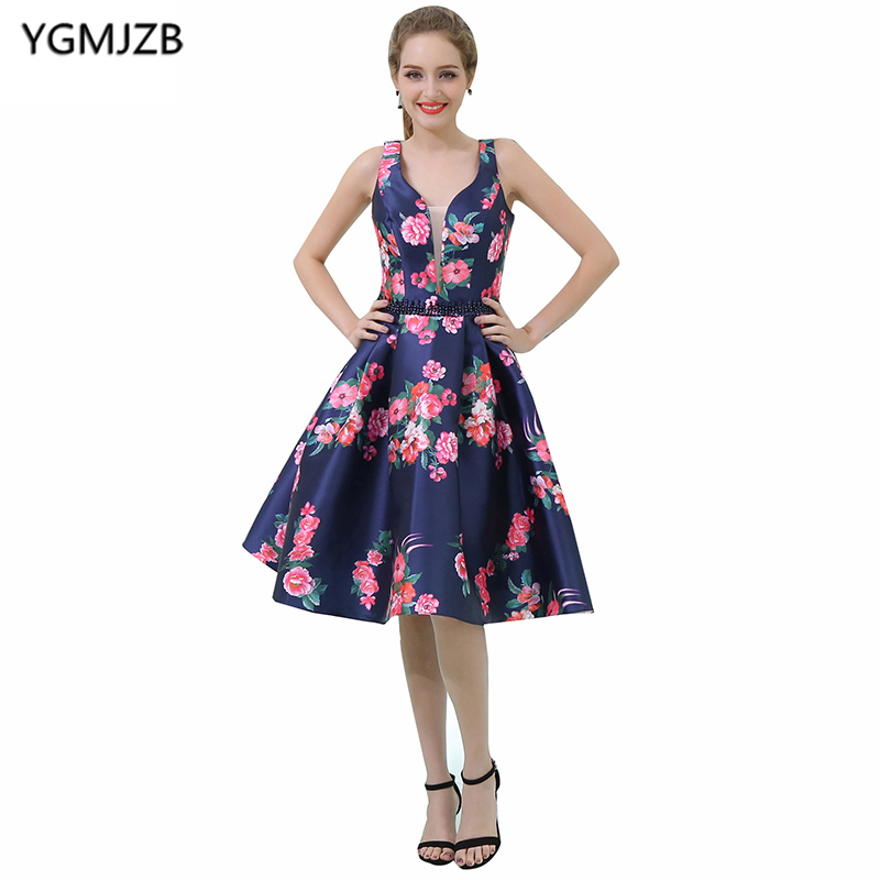 New Arrival Floral Print Cocktail Dresses 2019 A Line Deep V Neck Sleeveless Short Prom Dresses Knee Length Party Dresses