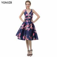 New Arrival Floral Print Cocktail Dresses 2018 A Line Deep V Neck Sleeveless Short Prom Dresses Knee Length Party Dresses