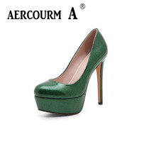 Aercourm A 2018 New Women Thin High Heels Shoes Female Bright Skin Leather Pumps Ladies Shoes