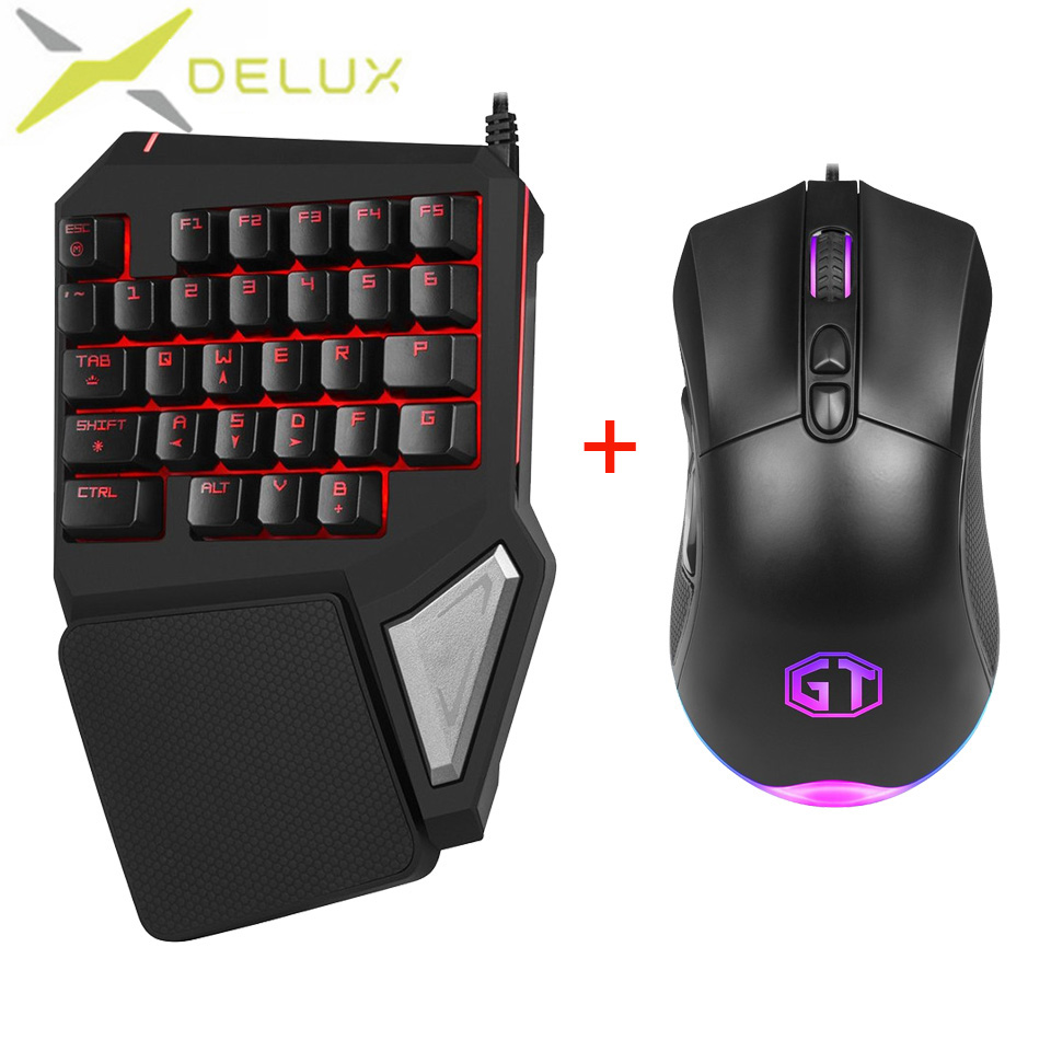 Delux mini keyboard T9 Pro gaming mouse 626 wired Professional gaming 7 Color Backlit Wired Mouse 5000DPI 6600 FPS For Game PC et t6 wired gaming mouse black