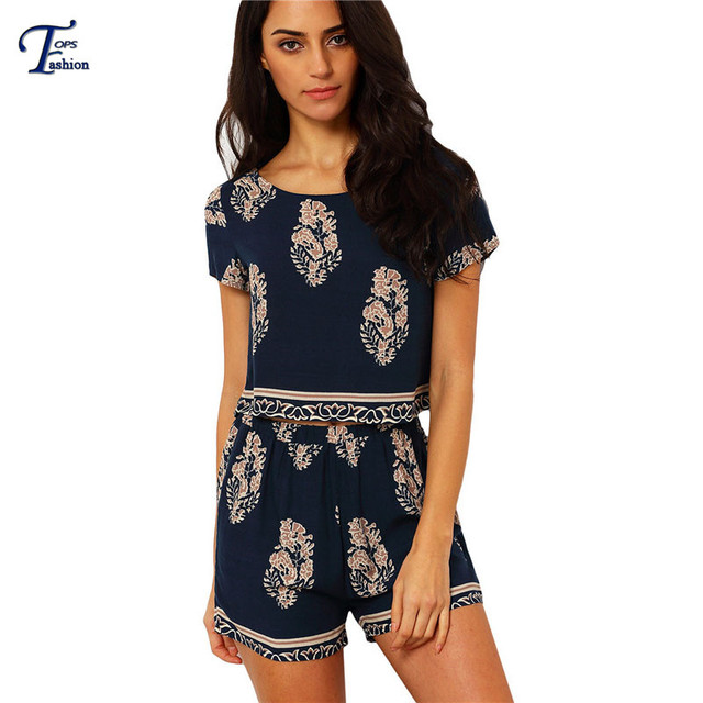 2016 New Arrival Fashion Clothing Navy Round Neck Short Sleeve Leaves Print Crop Top With Shorts Suits