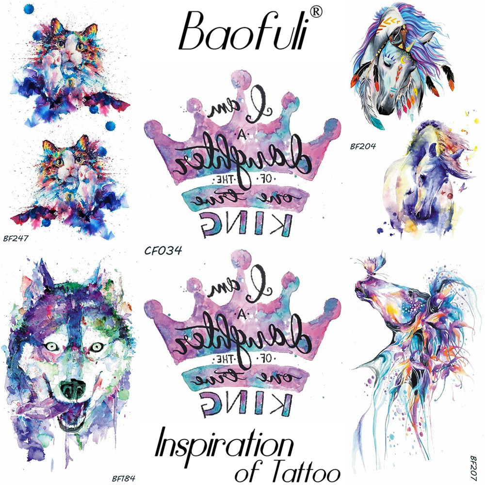 Baofuli Galaxy Crown Letter Temporary Tattoo Painting Fake Tatto Colorful Art Tattoos Feather Unicorn Cat Girl Body Arm Makeup