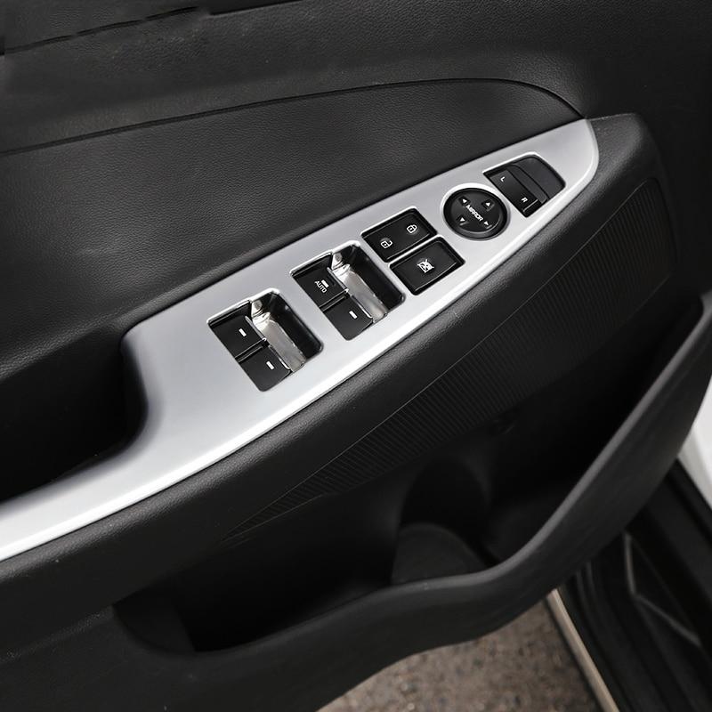 Interior del coche Puerta Reposabrazos Panel Ventana Interruptor Botones de Elevación Cubierta de la Etiqueta engomada del ajuste Para Hyundai Tucson 2015 2016 2017 2018 Accesorios