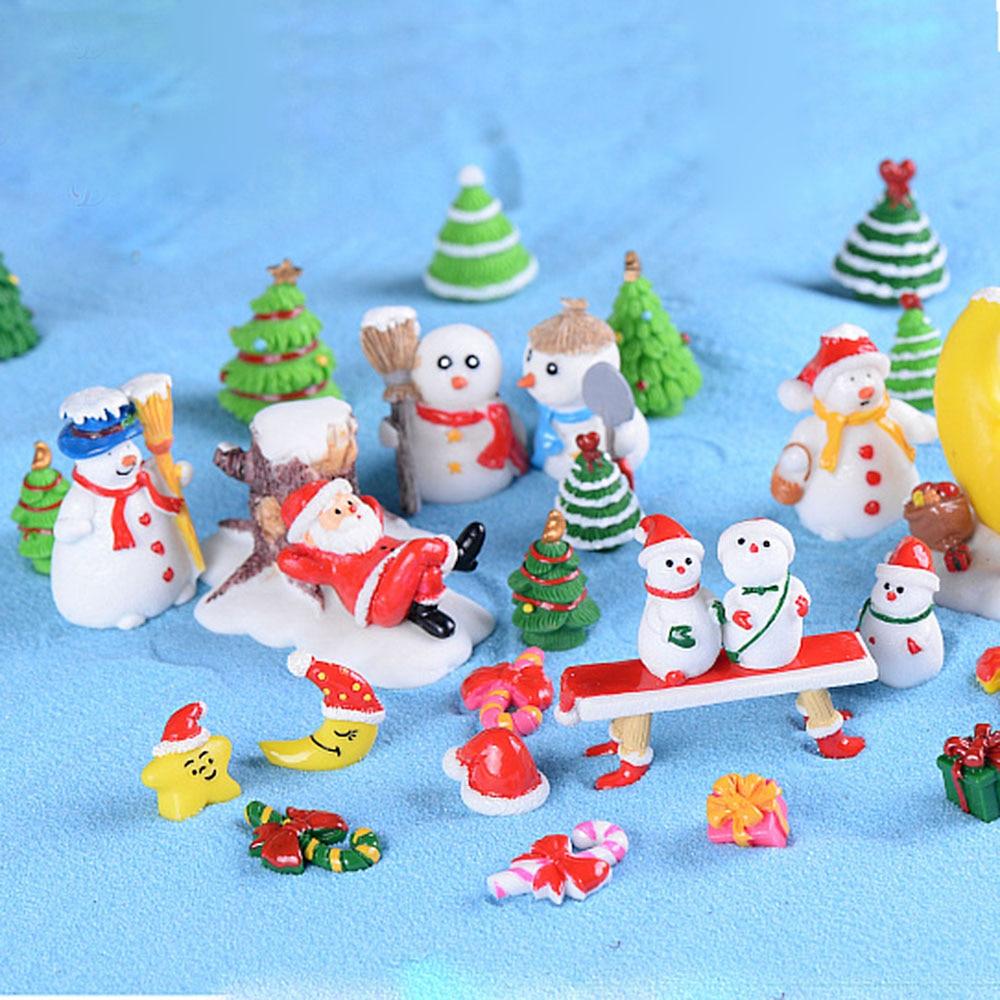 Resin Miniature Decor Terrarium-Accessories Doll-House Snowmen Garden-Figurines Christmas-Tree