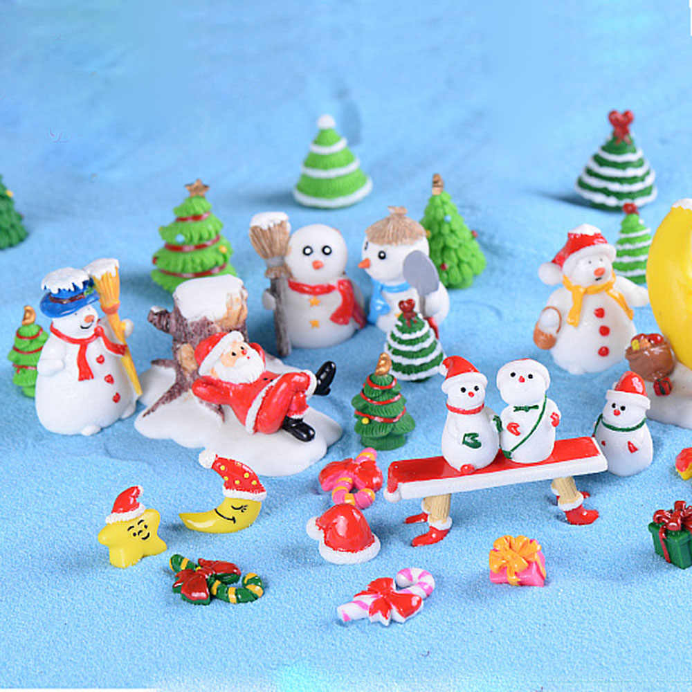 Resin Miniature Christmas Tree Santa Claus Snowmen Snow Duck Terrarium Accessories Micro Fairy Garden Figurines Doll House Decor