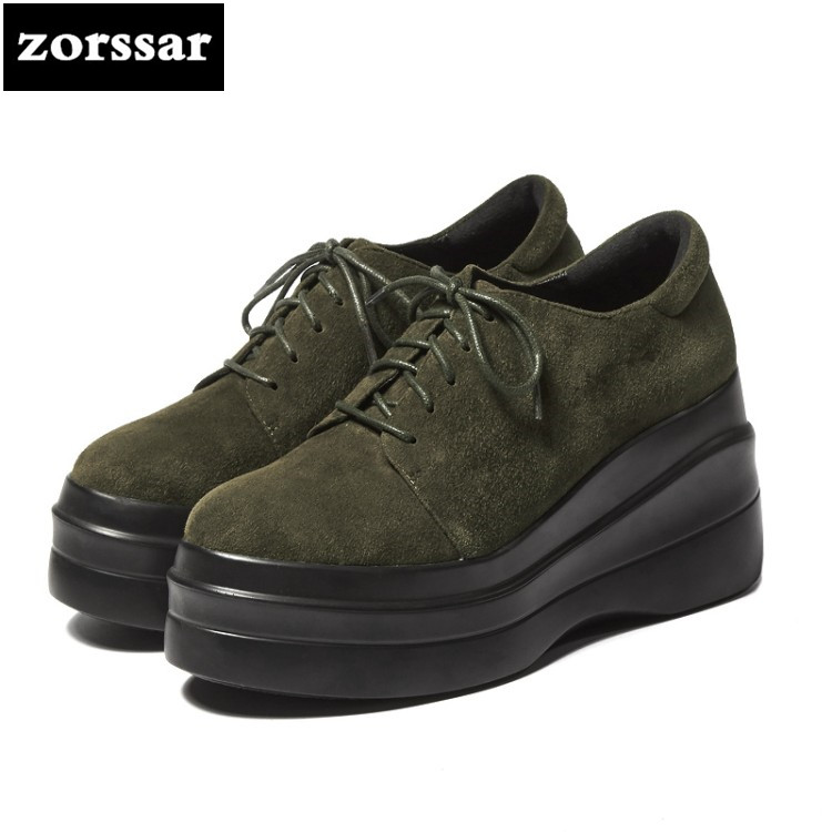 {Zorssar} 2018 New arrival fashion Suede ladies shoes Casual Lace-up platform Wedges High heels pumps 9.5CM women Creepers shoes zorssar brand 2018 new womens creepers shoes heels casual wedges high heels pumps shoes fashion suede women platform shoes