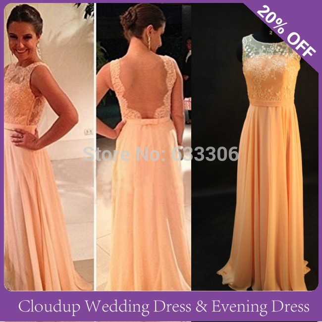 Vestidos De Fiesta Best Sale Peach Long Chiffon A-Line Formal Evening Gowns Nude Back Lace Prom Dresses 2016 - Cloudup store