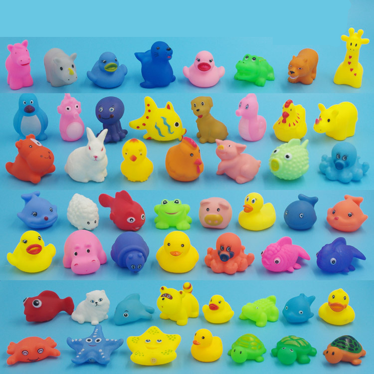 Style; Competent 13pcs Colorful Soft Rubber Float Squeeze Sound Squeaky Bathing Toy For Baby Different Animals Bathing Toy Lovely Mixed Animals Fashionable In