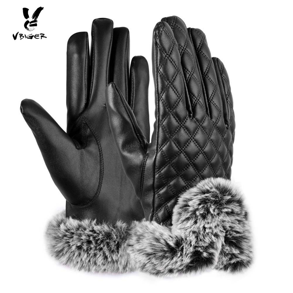 Vbiger Women Gloves 360 Degree Touch Screen Pu Leather