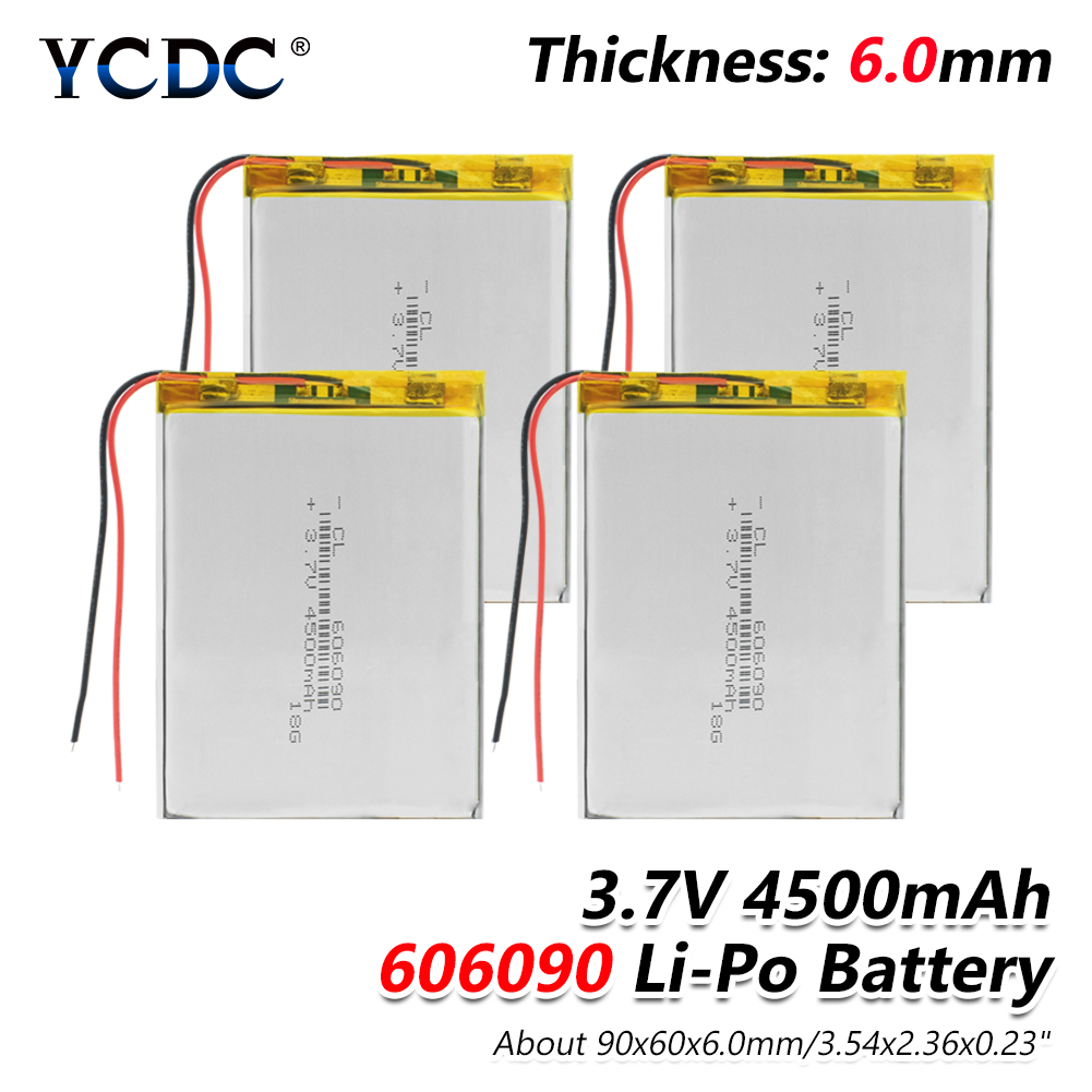 1/2/4 Pcs 3.7V 606090 4500mAh Rechargeable Lipo Battery Tablet Dvd Camera GPS Electric Toys Laptop Lithium Polymer Batteries