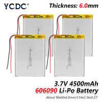 1/2/4 pièces 3.7V 606090 4500mAh Rechargeable Lipo batterie tablette Dvd caméra GPS jouets électriques ordinateur portable Lithium polymère Batteries