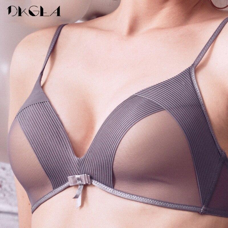 Fashion Girl Brassiere Gray Women Bra Set Sexy Underwear Comfortable Thin Cotton Brand Bras Deep V Wire Free Lingerie Set