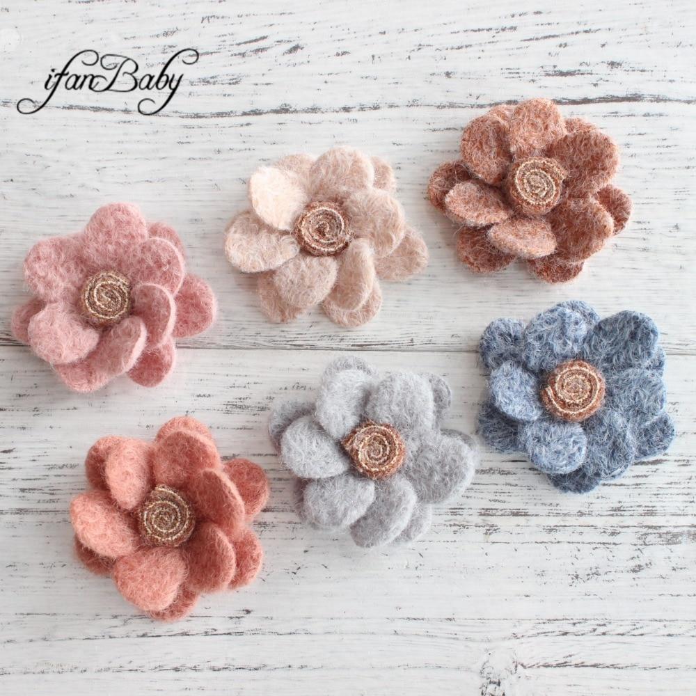 10pcs Suede Camellia Flower Heads Applique for DIY Hair Acessories Crafts 4.5cm