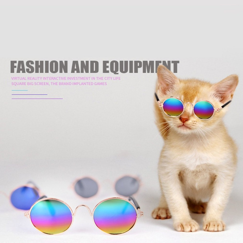Fashionable Pets Cats Metal Frame Sunglasses Windproof Pets Eye Wear Uv Protect Sun-resistant Cats Sunglasses Accessories