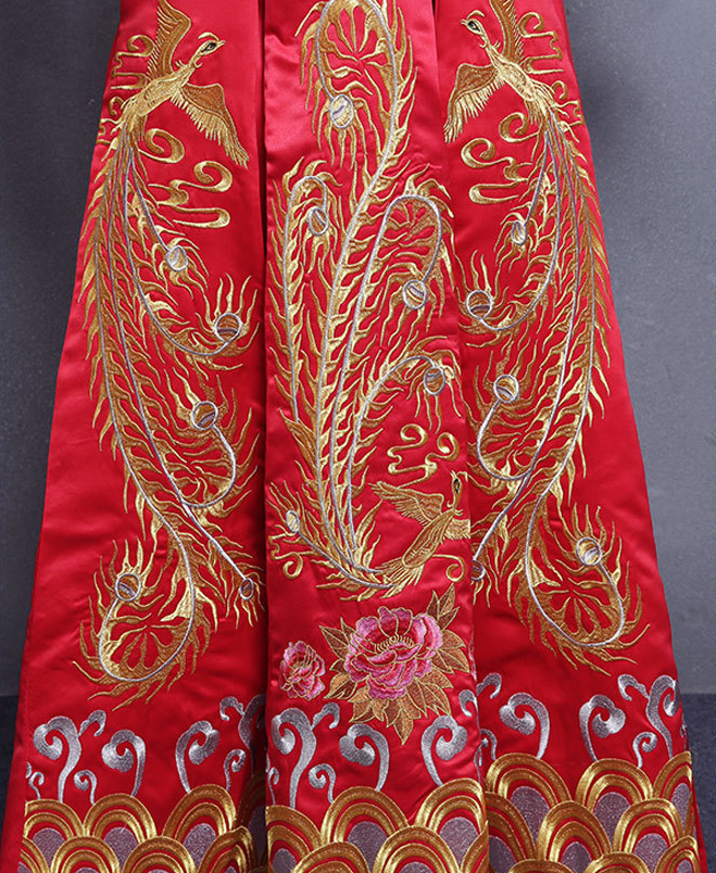 bride wedding dress Traditional chinese style costume Phoenix cheongsam Embroidery clothing Luxury ancient Royal Red Qipao gown