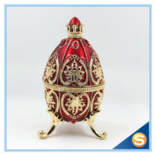 Easter Gift Vintage Decoration Faberge Egg Bejeweled Trinket Box Metal Jewelry Box Crystal Jewelry Storage Collectibles