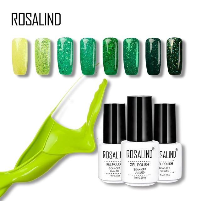 ROSALIND Gel 1S Soak Off 7ML Green Color Diamond Glitter Semi Permanent Nail Needed Top Base Direction For Gel Nail Polish