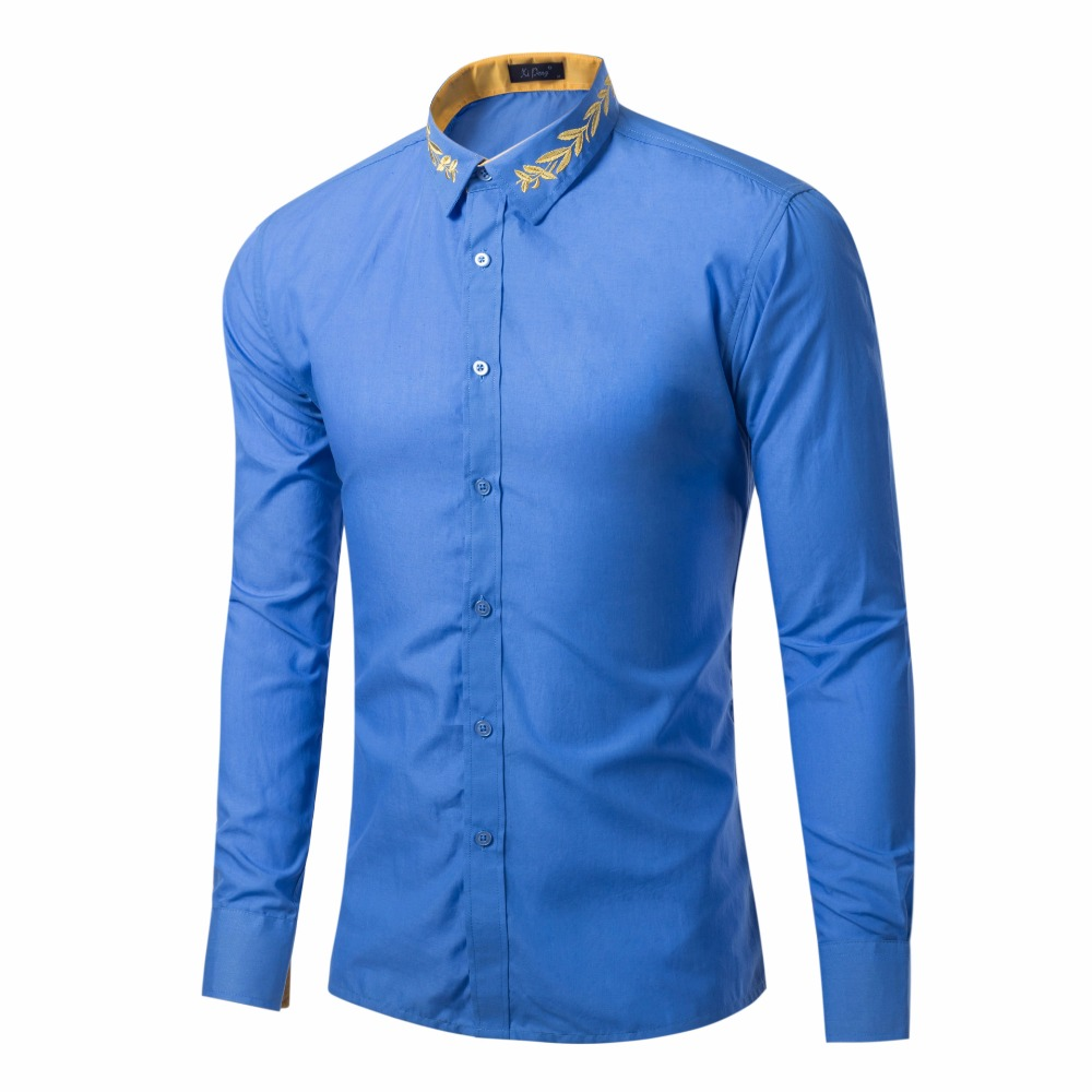 Рубашка с вышивкой для мужчин, новинка 2019 года, Хлопковая мужская рубашка с длинным рукавом, модная Облегающая рубашка, мужская белая рубашк...
