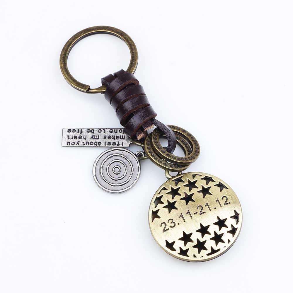 12 constelações chaveiro amantes anel chave Do Couro Retro Do Zodíaco chaveiro llaveros Aries Virgo sleutelhanger porte clef 2019 novo