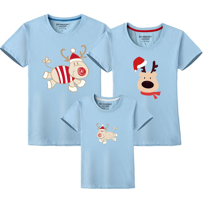 Father Son Clothes Family Look Christmas Family Matching Outfits T Shirt Mother Daughter Short Sleeve Dad Mom Baby Family Suit