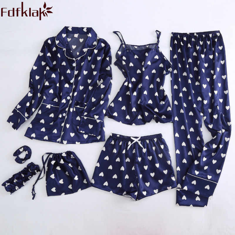 Fdfklak Autumn 2018 New Faux Silk 7 Pieces Pajamas For Women Lingerie Pyjamas Summer Sleepwear Pijama Night Suit Home Clothes