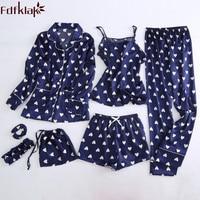 Fdfklak Autumn 2018 New Faux Silk 7 Pieces Pajamas For Women Lingerie Pyjamas Summer Sleepwear Pijama Night Suit Home Clothes