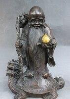 9 Chinese Bronze God Longevity Shouxing In Dragon Tortoise Turtle Buddha Statue