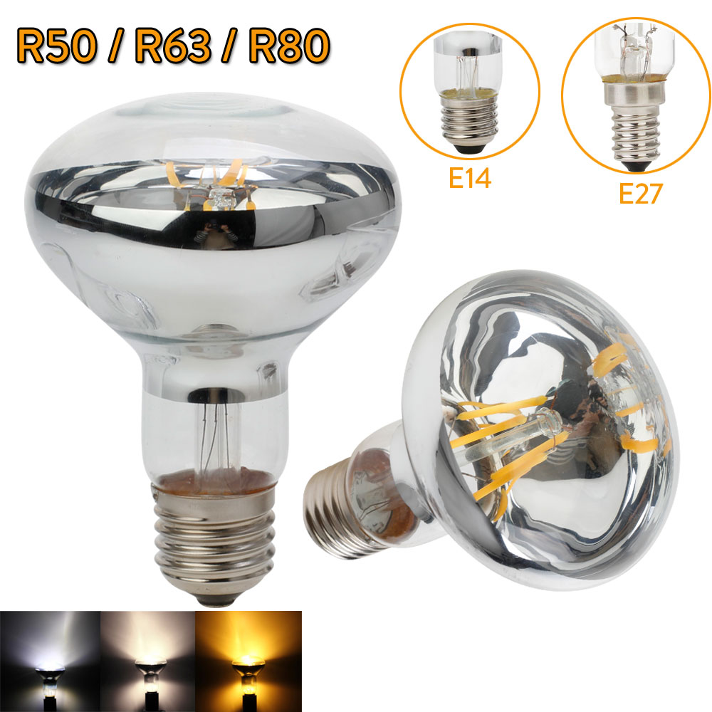 E27 LED Bulb Filament Lamp R50 R63 R80 Real Power 3W 4W 5W 220V E14 Light Edison LED Replace Incandescent 30W 40W 50W