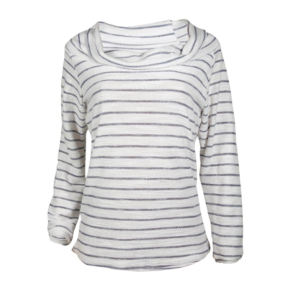 Womens New Fashion Casual Tops Female Long Sleeve Knitting Sweater Off Shoulder Sexy Striped Sweater