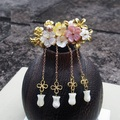 White Pink Yellow Hand Carved Shell Flower Middle Horizontal Hair Pins Costume Hanfu Hair Accessory Hairpins for Women