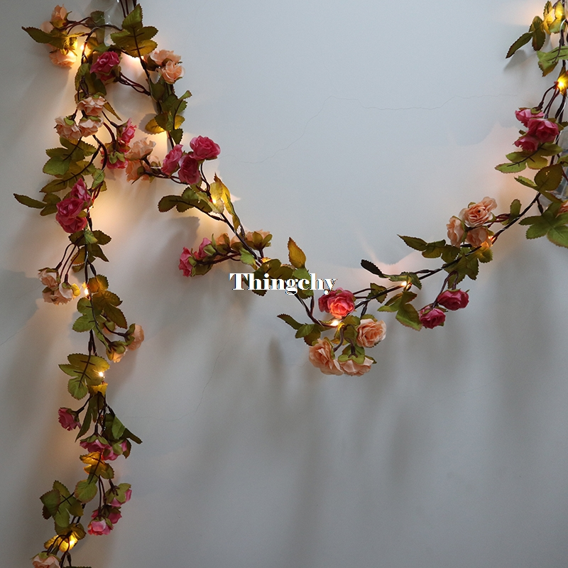 1.7M little rose flower battery Copper wire LED fairy string lights for christmas Lit Garland wedding decoration party event