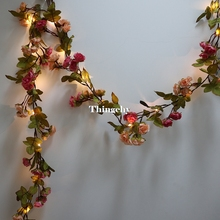17M little rose flower battery Copper wire LED fairy string lights for christmas Lit Garland wedding decoration party event