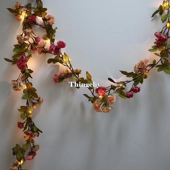 1.7M little rose flower battery Copper wire LED fairy string lights for christmas Lit Garland wedding decoration party event vintage printed rose flower dragonfly paper napkins for event