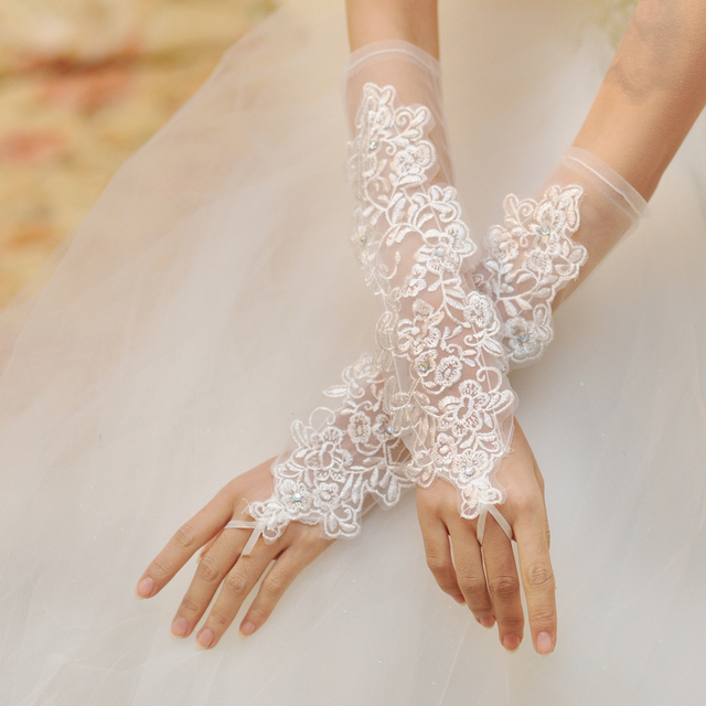 Longo rendas luvas sem dedos de noiva luvas de casamento de gaze transparente bordado