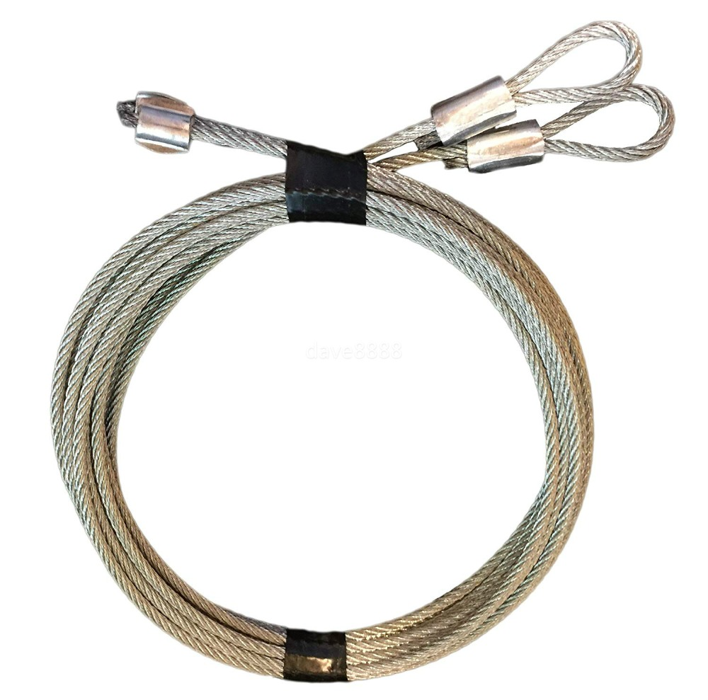 2.5mm Ideal Security SK7112 Garage Door Extension Cable Kit 2 Galvanized Steel Braid Cables, S Hooks